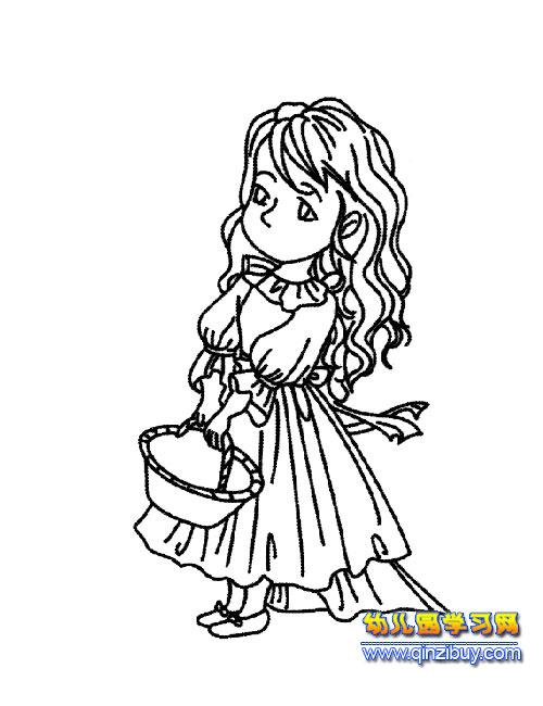 提篮子的新娘简笔画