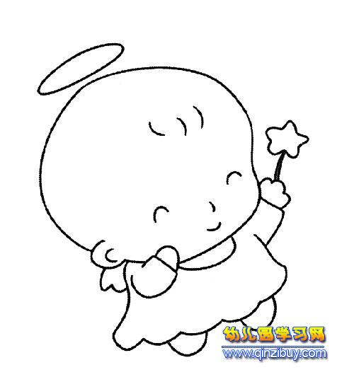 简笔画:可爱的天使2—幼儿园教案网