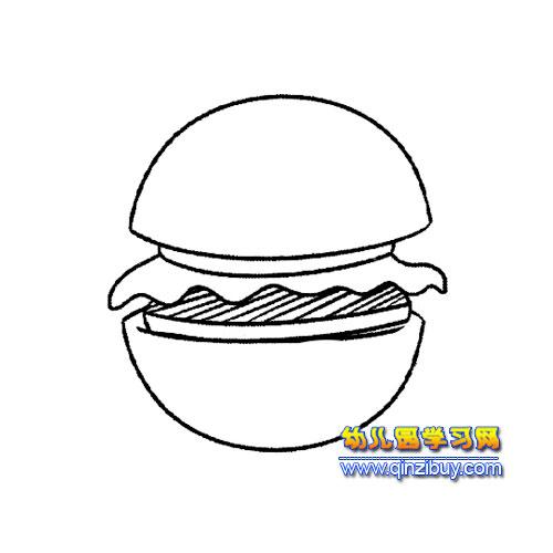 面包简笔画 一个汉堡