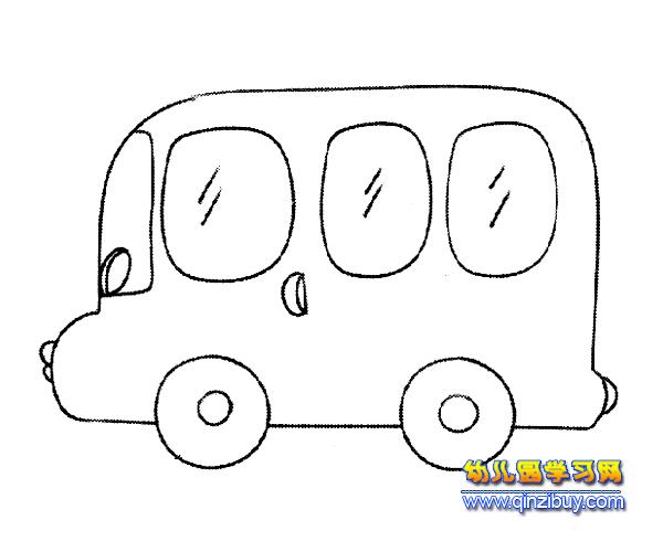 公交车简笔画:面包车 幼儿园教案网