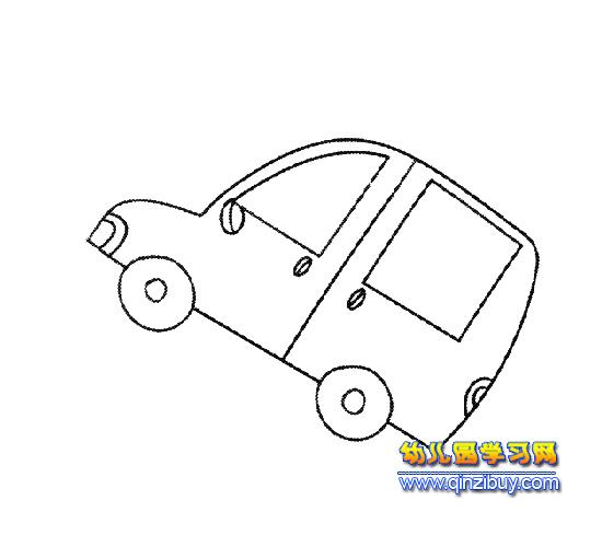 汽车简笔画:面包车4—幼儿园教案网