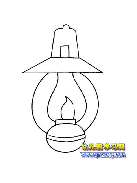 简笔画:古代煤油灯3—幼儿园教案网