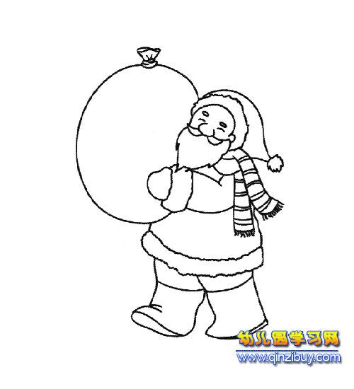 送礼物的圣诞老人简笔画2