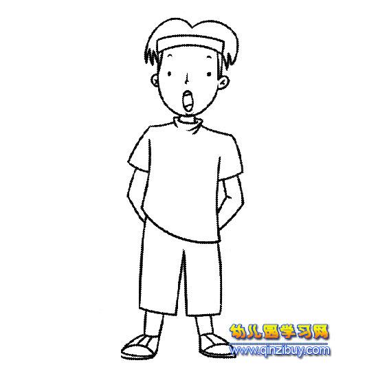 简笔画:唱歌的小男孩2—幼儿园教案网