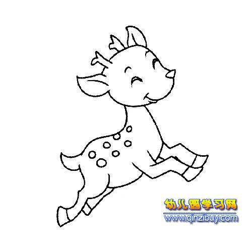 梅花鹿简笔画  梅花鹿的素描怎么画-初学者画鹿晗的素描画-梅花鹿跑步