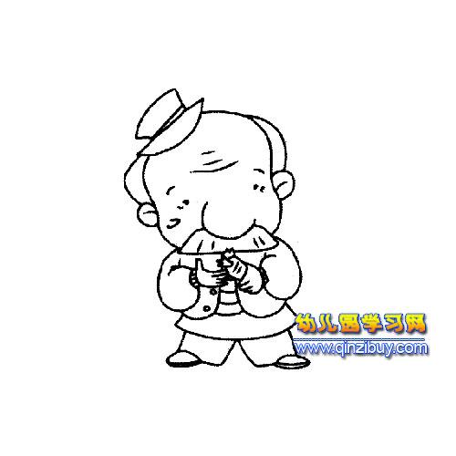 大鼻子老年人简笔画2