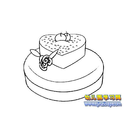 爱心蛋糕简笔画3