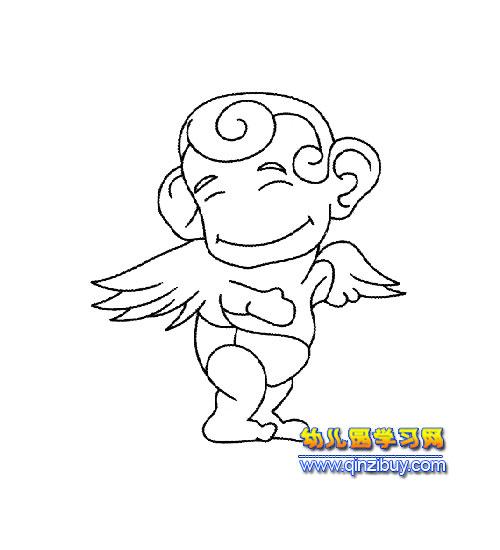 简笔画:一个天使1; 一个小孩简笔画两只兔子抬一个胡