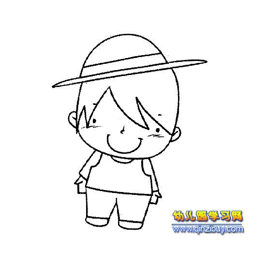 人物简笔画:戴帽子的小男孩1—幼儿园教案网