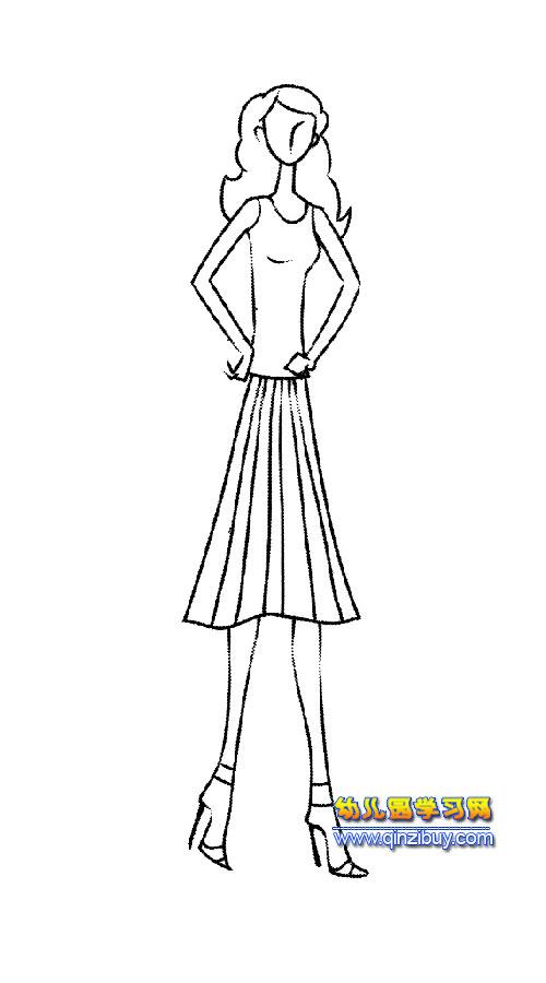 少女模特简笔画4-幼儿园歌声网教案美女图片图片