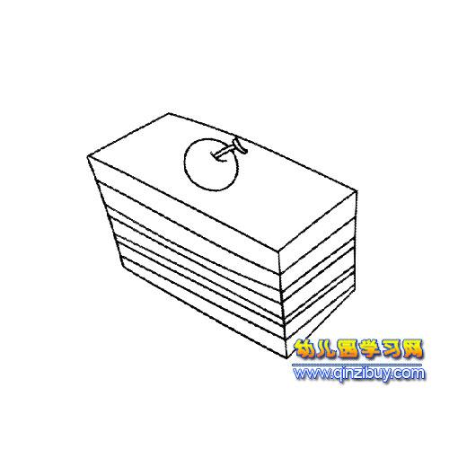 方形蛋糕简笔画; 简笔画卡通蛋糕图片;