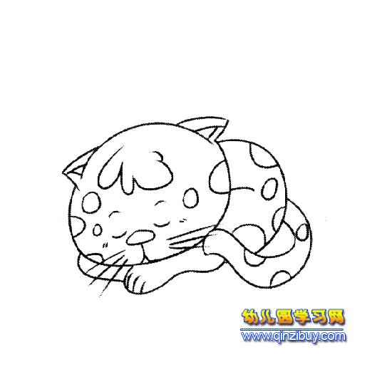睡觉的小猫简笔画1