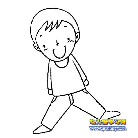 简笔画:搞笑的小男孩1—幼儿园学习网