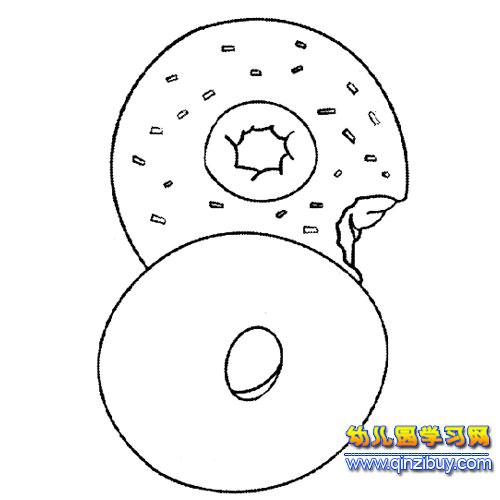 简笔画 甜甜圈面包2