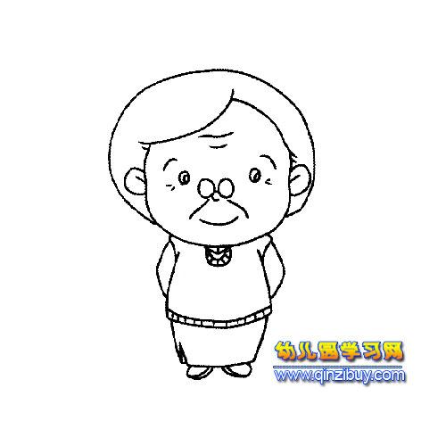 慈祥的老奶奶简笔画2—幼儿园学习网