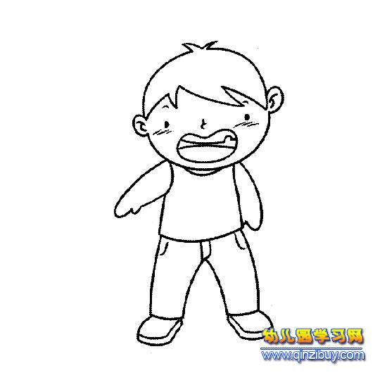 发脾气的小男孩简笔画2-幼儿园教案网