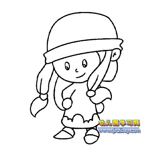 带着帽子的女孩简笔画3;; 幼儿帽子简笔画大全卡通帽子简笔画大全幼儿