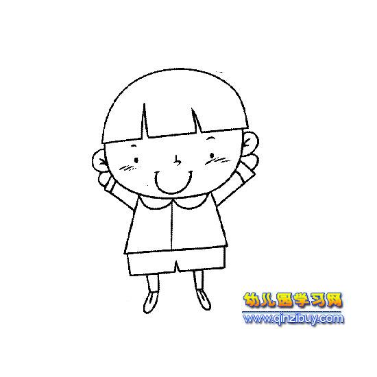 可爱的小女孩1 简笔画