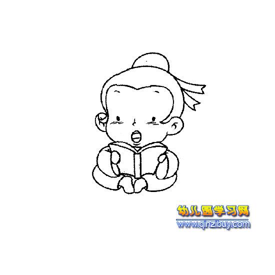 简笔画:读书的男孩—幼儿园学习网图片