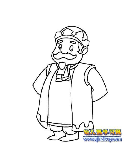 简笔画:和蔼的国王2—幼儿园教案网