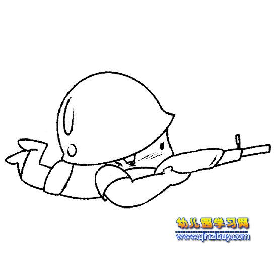 射击的小男孩简笔画