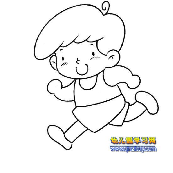 跑步的小男孩简笔画—幼儿园学习网