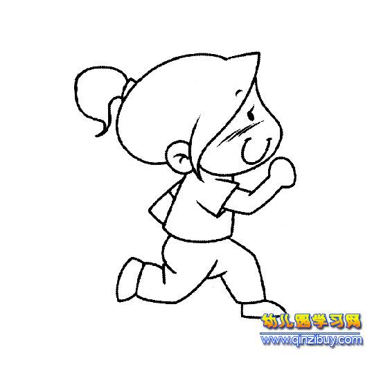 奔跑的小女孩简笔画4