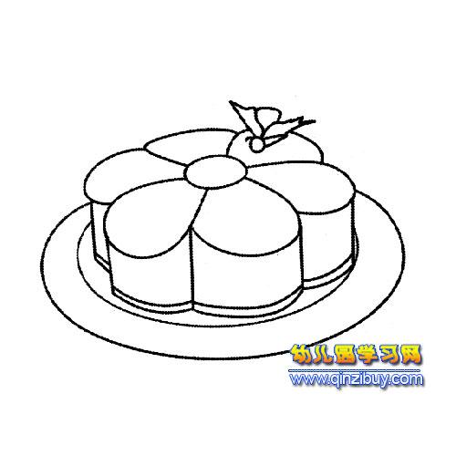简笔画 月饼蛋糕