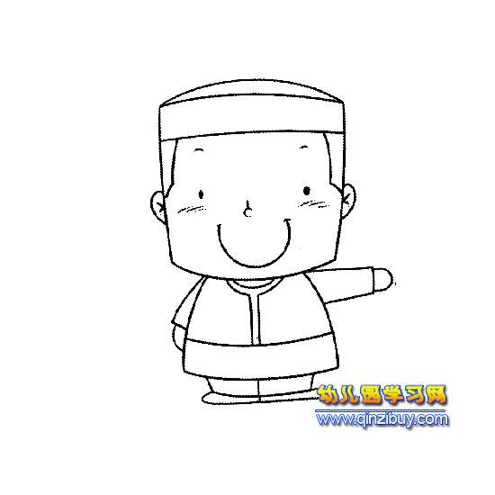 戴帽子的小男孩简笔画2