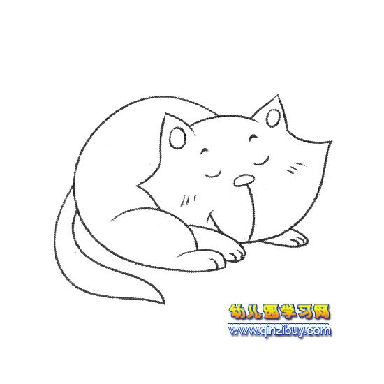 睡觉的小猫简笔画2—幼儿园教案网