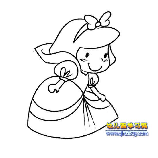 简笔画(穿着长裙子的女孩)1—幼儿园学习网