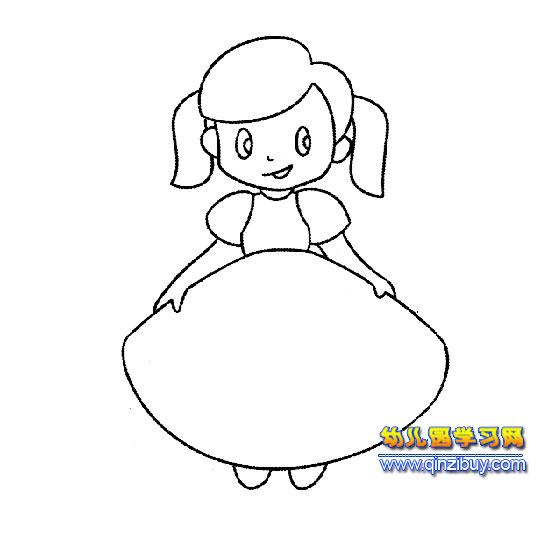女孩穿裙子图片简笔画_长发女生背影简笔画