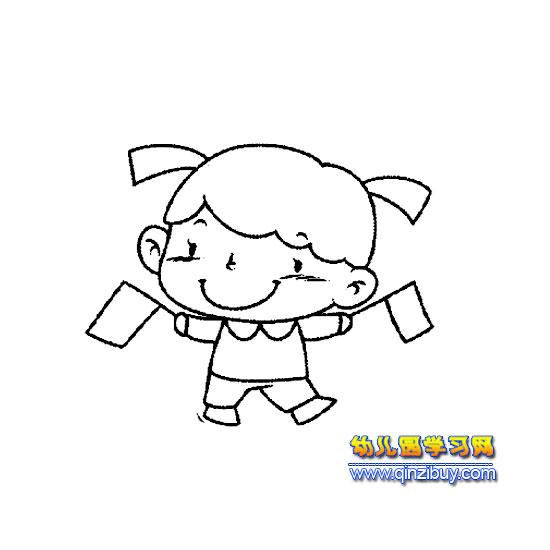 拿红旗的小女孩简笔画—幼儿园教案网