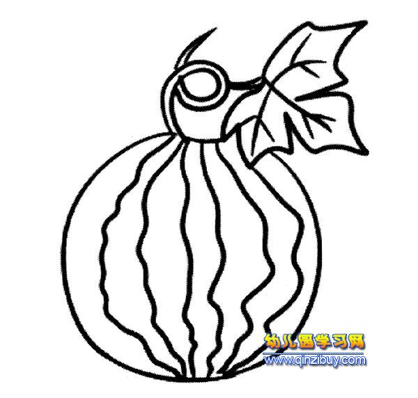 简笔画:有叶子的西瓜1