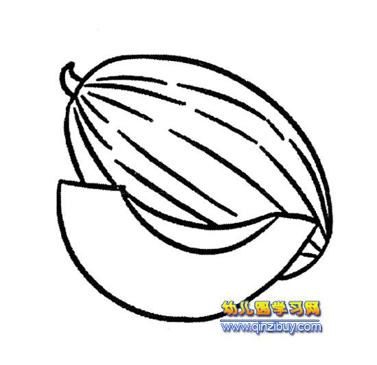 被切开的哈密瓜简笔画3