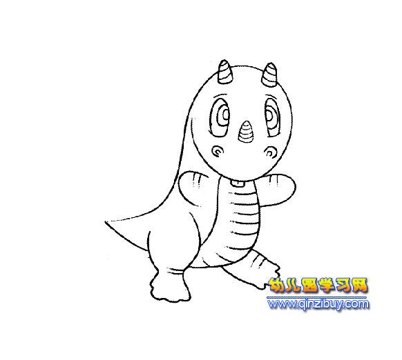 可爱的小恐龙【简笔画】4-可爱的小恐龙 4
