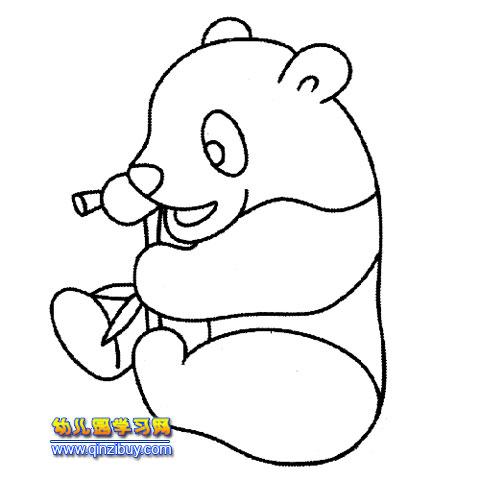 熊猫吃竹子的简笔画_吃竹子的大熊猫(简笔画)—幼儿园学网