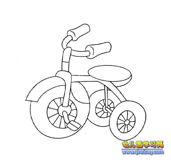 儿童脚蹬三轮车(简笔画)图片