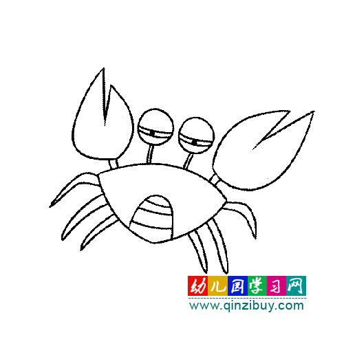 吃惊的螃蟹 简笔画