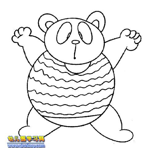 动物简笔画 手舞足蹈的熊猫