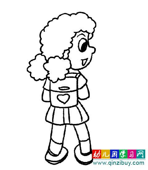 简笔画:背书包的小女孩