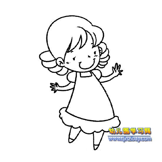 简笔画 跳舞的小女孩1