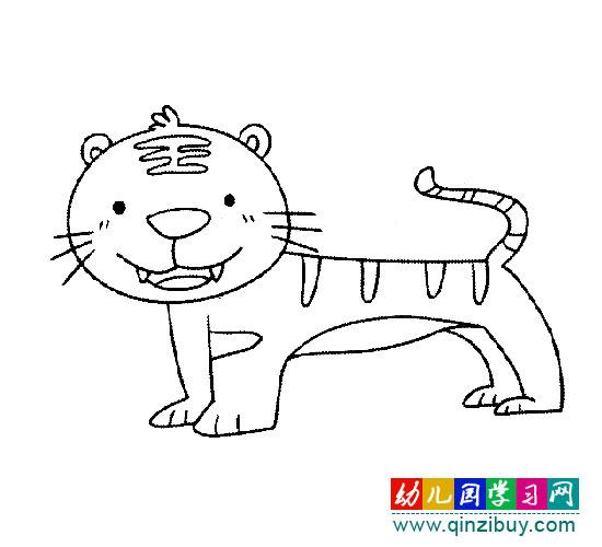 动物简笔画:老虎2—幼儿园学习网