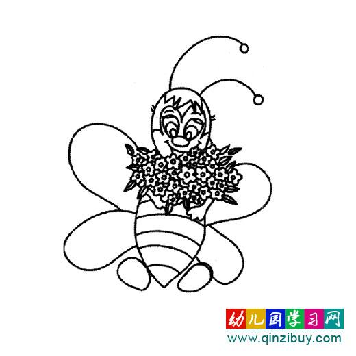 简笔画 采花的小蜜蜂