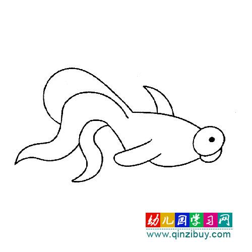 活泼的小金鱼 简笔画