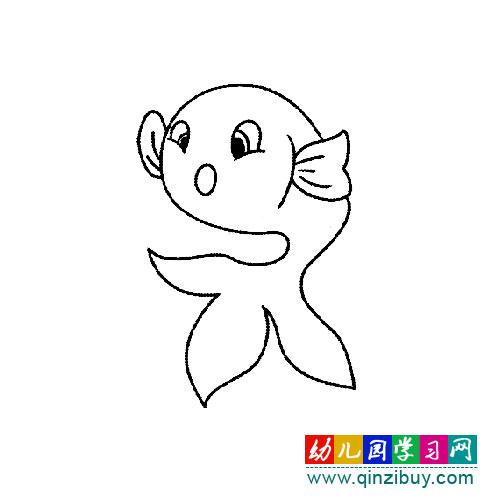一条小金鱼 简笔画