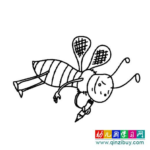 简笔画 拿画笔的小蜜蜂