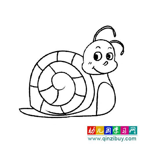 卡通蜗牛(简笔画)-幼儿园教案网