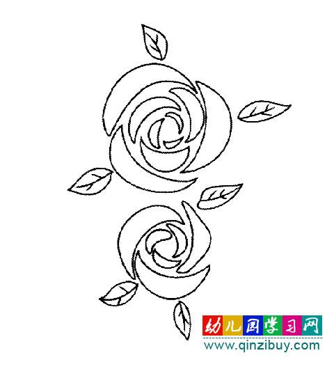 两朵玫瑰花(简笔画)
