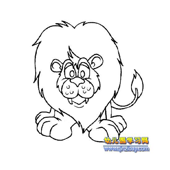 凶猛的狮子 简笔画